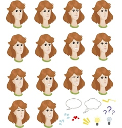 Set of cartoon caucasian female faces with vector