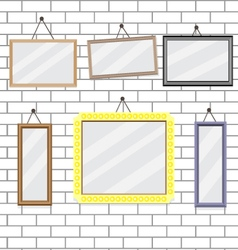 Set of picture frames on brick wall template vector
