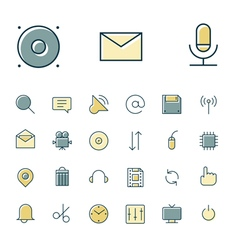 Icons thin blue interface sign vector