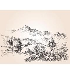 Mountains landscape sketch vector image
