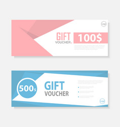 Pink blue cute pattern gift voucher template vector
