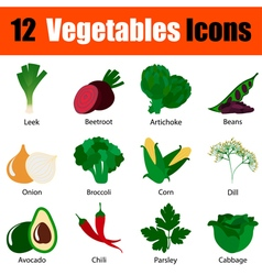 Flat design vegetables icon set vector