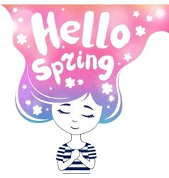 Hello spring dreaming girl colored vector