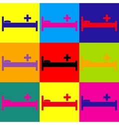 Hospital sign pop-art style icons set vector