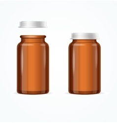 Medical glass brown bottle vector