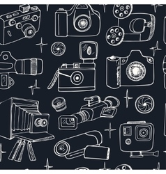 Photo and movie hobby cameras seamless pattern vector