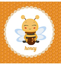Greeting card with honey bee vector