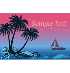 Landscape ship palms and night sea vector