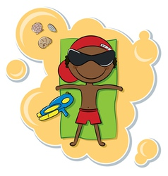 African-American boy on the beach vector image vector image