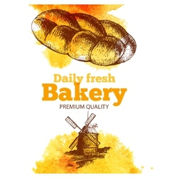 Bakery watercolor and sketch background vector image vector image