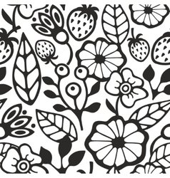 Black and white seamless pattern with plants and vector image