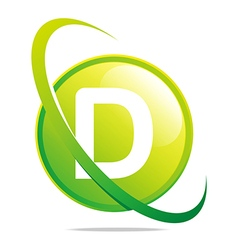 Circle globe round letter d green abstract vector