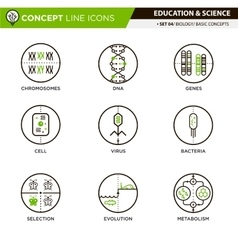 Concept line icons set 4 biology vector