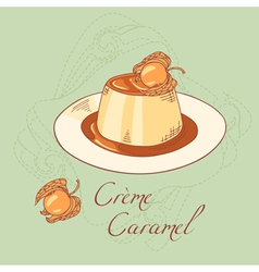 Creme caramel dessert isolated in vector