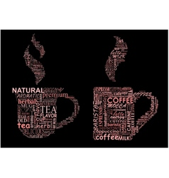 Cups of coffee and tea formed from text clouds vector image