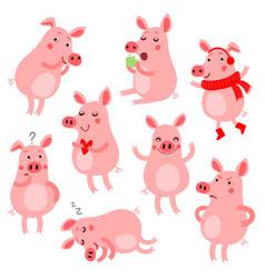 Cute pigs vevtor set vector
