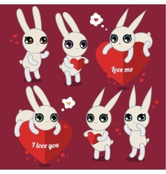 Cute white rabbits on pink vector