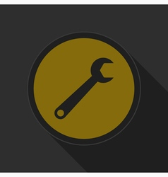 Dark gray and yellow icon - spanner vector