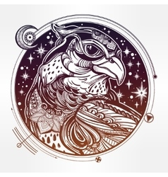 Detailed hand drawn bird of prey head vector image