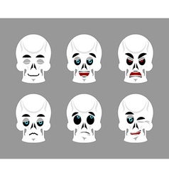 Emotions skull set expressions avatar skeleton vector