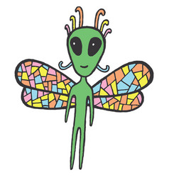 Fairy tales sticker with dragonfly alien vector