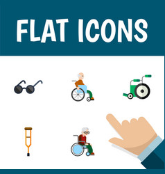 Flat icon disabled set of wheelchair stand vector