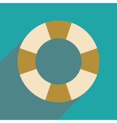 Flat web icon with long shadow lifebuoy vector
