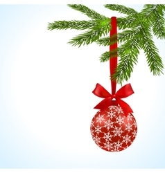 Green tree branch with red ball and ribbon on a vector