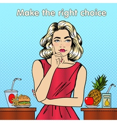 Healthy or unhealthy food woman in doubts vector