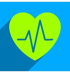 Heart ekg flat square icon with long shadow vector