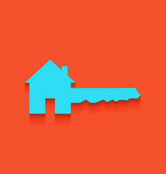 Home key sign whitish icon on brick wall vector