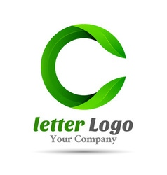 Letter c eco leaves logo icon volume logo colorful vector