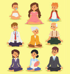 Lotus position yoga pose meditation relax people vector