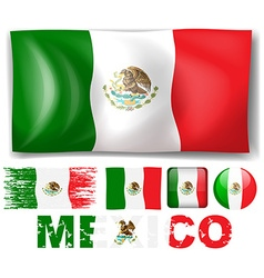Mexico flag in different design vector image vector image