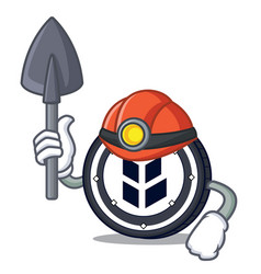 Miner bancor coin mascot cartoon vector