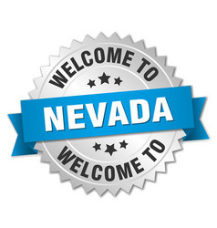 Nevada 3d silver badge with blue ribbon vector