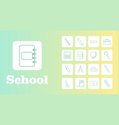 set line icons in flat design education school vector image