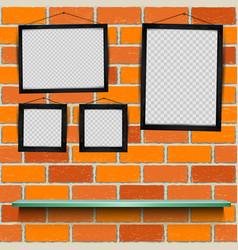 shelf photo frames brick background vector image