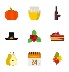 Thanksgiving day icons set flat style vector