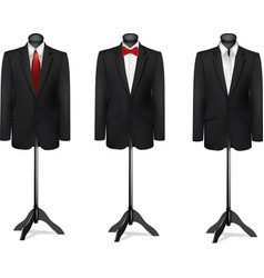Three different suits on mannequins vector