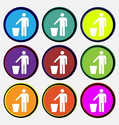 Throw away the trash icon sign nine multi colored vector