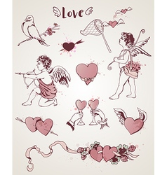 Valentine vintage design elements vector