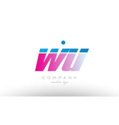 wu w u alphabet letter combination pink blue bold vector image vector image