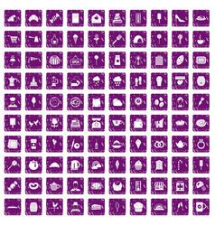 100 patisserie icons set grunge purple vector