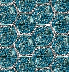 Artistic color brushed blue checkered hexagons vector