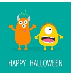 Happy halloween greeting card yellow and orange vector