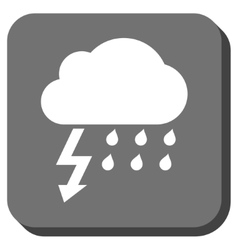 Thunderstorm rounded square icon vector