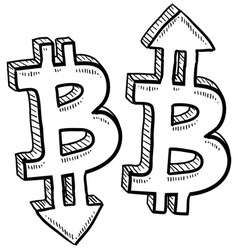 Doodle currency up down bitcoin vector