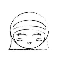 kokeshi doll sketch face vector image