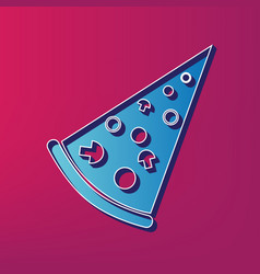 Pizza simple sign  blue 3d printed icon on vector